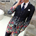 Flower Suit Men 2016 New Fashion Designer Suit Luxury Wedding Prom Suit Costume Floral Male Groom Party Suit Jacket+vest+ Pant