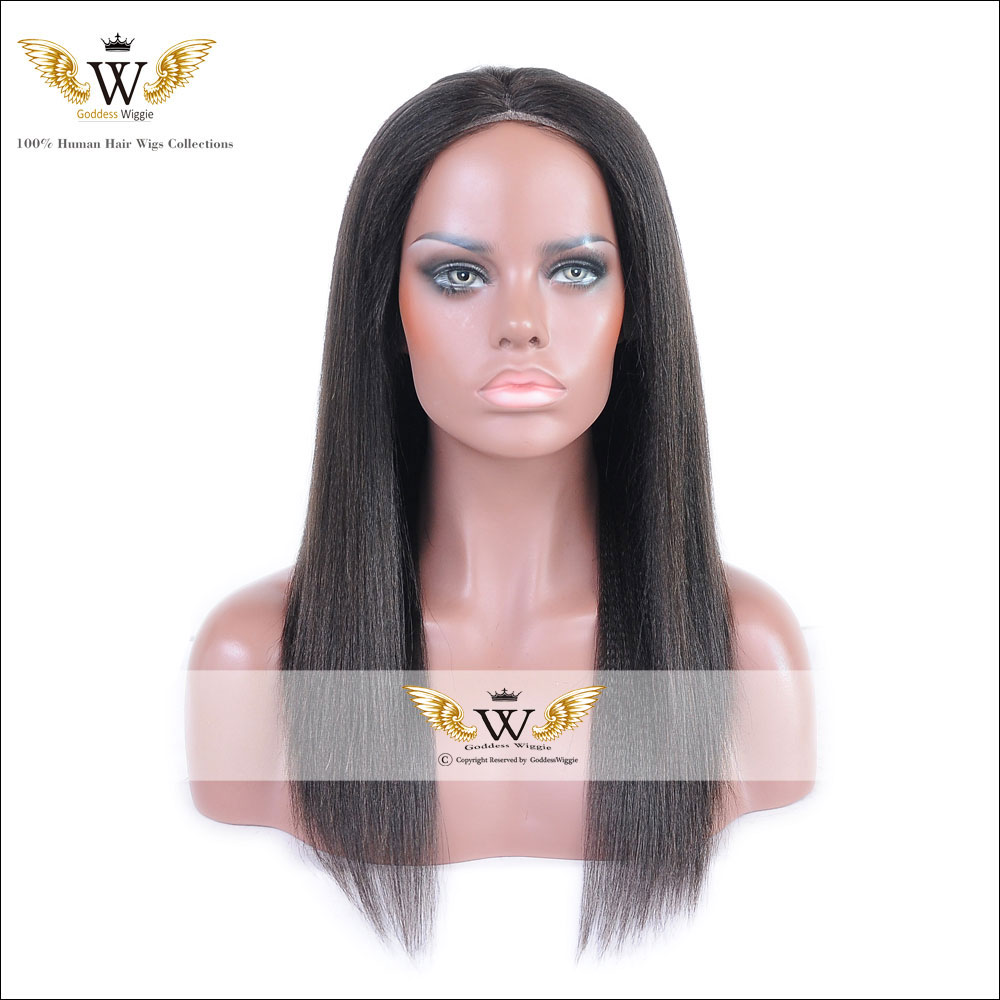 6a 130 Malaysian Light Yaki Straight Full Lace Wigs Human Hair Lace