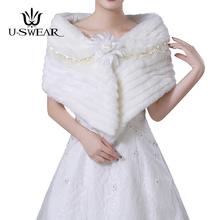 U-SWEAR 2018 New Arrival Warm Bolero Bridal Wraps Shawls Faux Fur Comfortable Lace Ruffle Flora Wedding Accessories Jackets