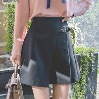 GUUZYUVIZ Casual Midi Shirt Women High Waist Solid Fladas Mujer Moda 2019 Black Ropa Mujer Jupe Femme White Skirts Womens