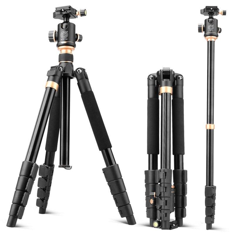 157 cm nouveau tripe celulaire Q666BD aluminium caméra trépied monopode pour vidéo dslr appareil photo numérique 13 kg charge treppiede trepied photo