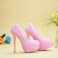 Pink Lace Pearl Wedding Shoes Bridal 14cm High Heeled Formal Dress Shoes Women Shallow Mouth Banquet