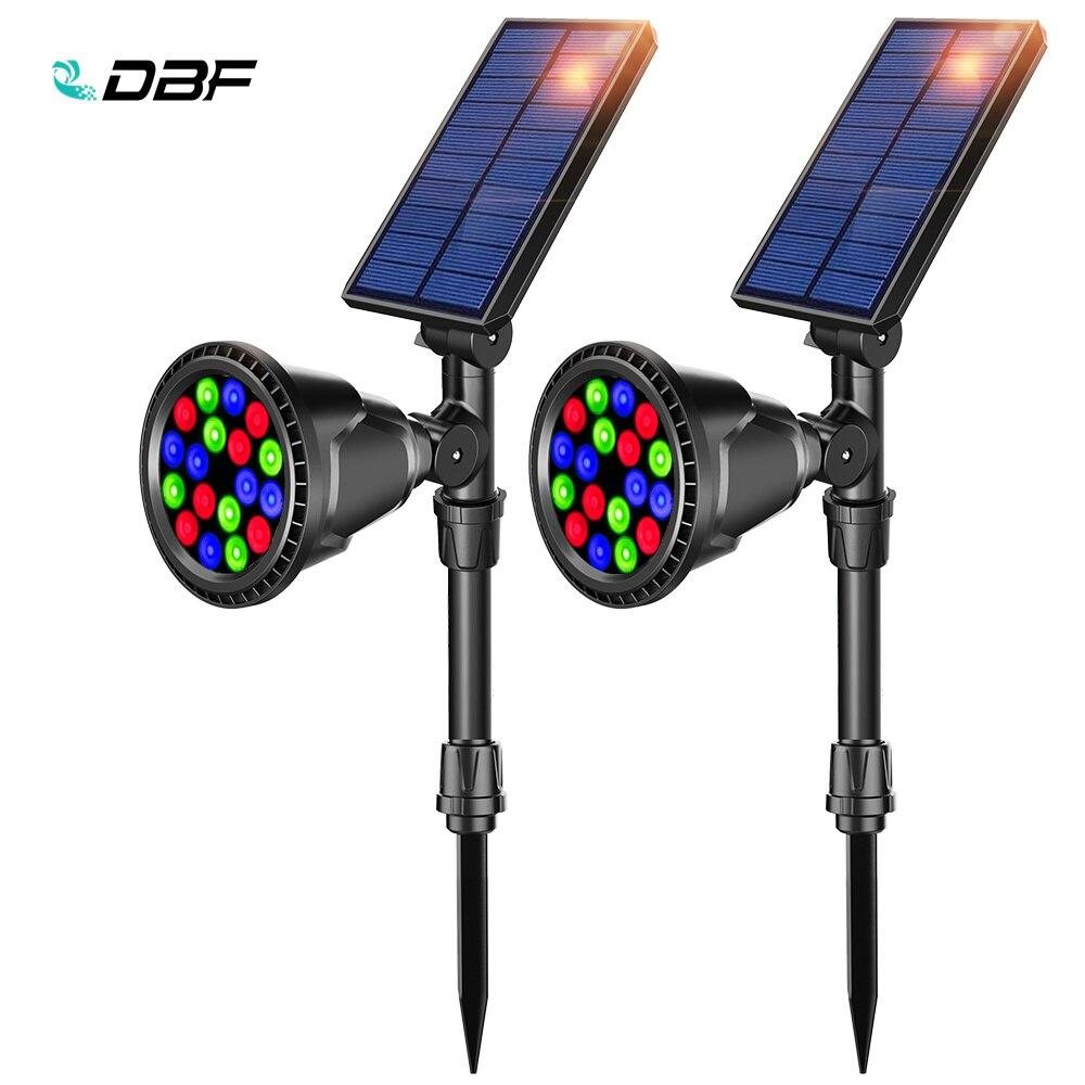 dbf movido a energia solar 18 led rgb lampada ajustavel colorido refletor solar em terra