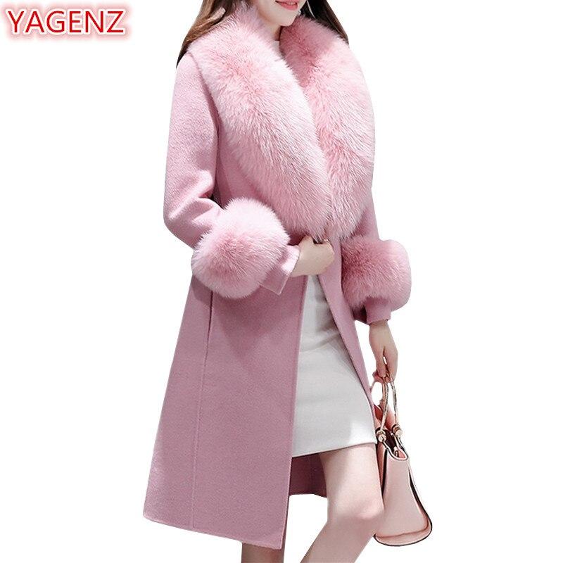 YAGENZ High quality Wool Jacket Women Long Coat Spring Autumn Coat Women Tops Fashion Big Fur collar Temperament Woolen Coat 737