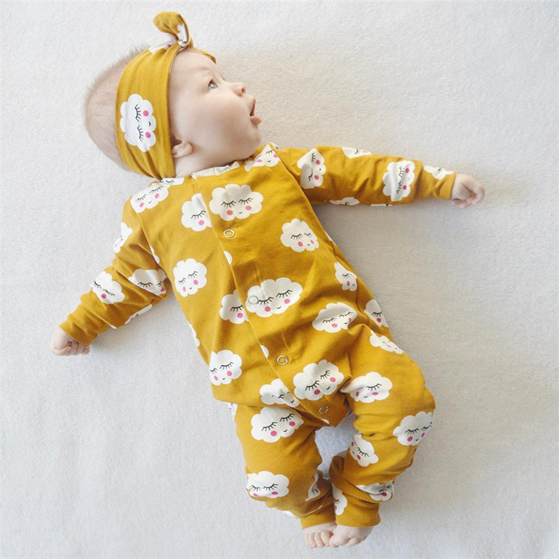 Baby Kids Girls Romper Set White Cloud Long Sleeve Romper Jumpsuit cotton+ Headband 2pcs Outfit Infant Kids Clothing