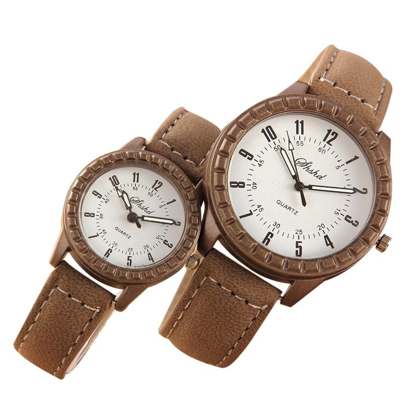 2 Pcs Vintage Leisure Imitation Wood Pair Watches Men Women Lovers Couple Quartz Wristwatch