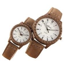 2 Pcs Vintage Leisure Imitation Wood Pair Watches Men Women Lovers
