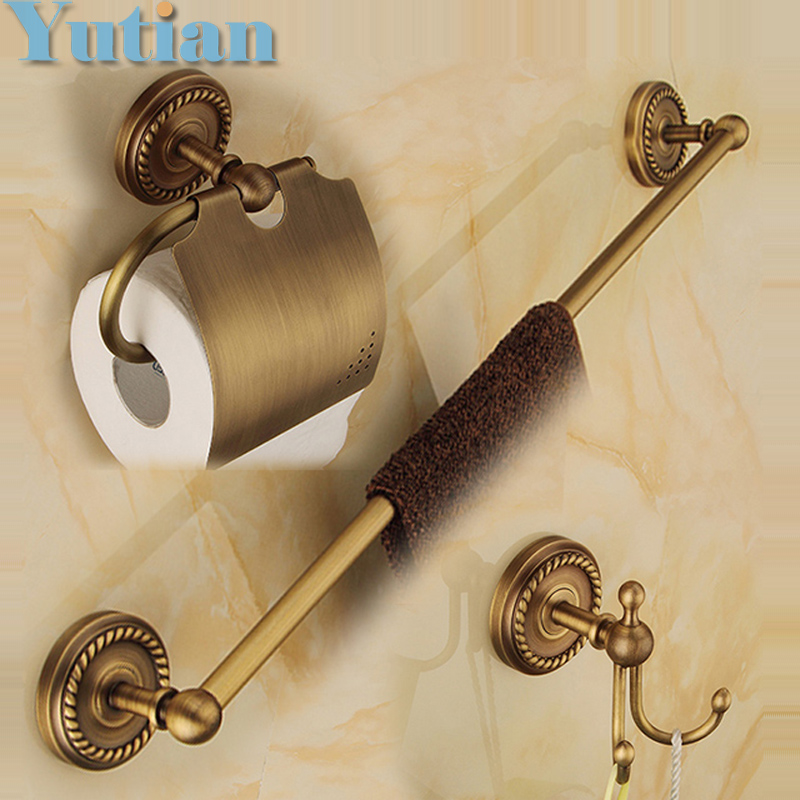 цены  Free shipping,solid brass Bathroom Accessories Set,Robe hook,Paper Holder,Towel Bar,bathroom sets,antique brass finish YT-12200