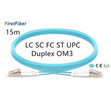 15m LC SC FC ST UPC OM3 Fiber Patch Cable,Duplex Jumper, 2 Core Patch Cord  Multimode 2.0mm