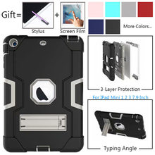Case Cover For iPad Mini 1 2 3 Tablet Stand Shockproof Heavy Duty Protect Skin Rubber Hybrid Case For iPad Mini 2 3 7.9 Inch for ipad mini case cover military duty shockproof kids cases plastic silicone stand case for ipad mini 2 3 1 funda hybrid shell