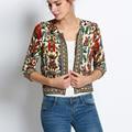 Women Flower Print Seven Sleeve Zipper Short Thin Jacket Coat Tops