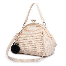 2016 New Fashion Vintage Women Messenger Bag Luxury Women Handbag Shoulder Bag PU Leather Black Seashell Bag F478