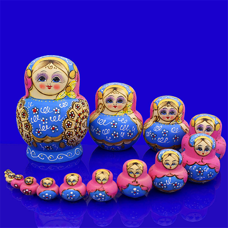 Mnotht 15 couches sec tilleul russe nidification poupées bleu & rose Eudcation bricolage Matryoshka poupée peint à la main en bois jouets L30