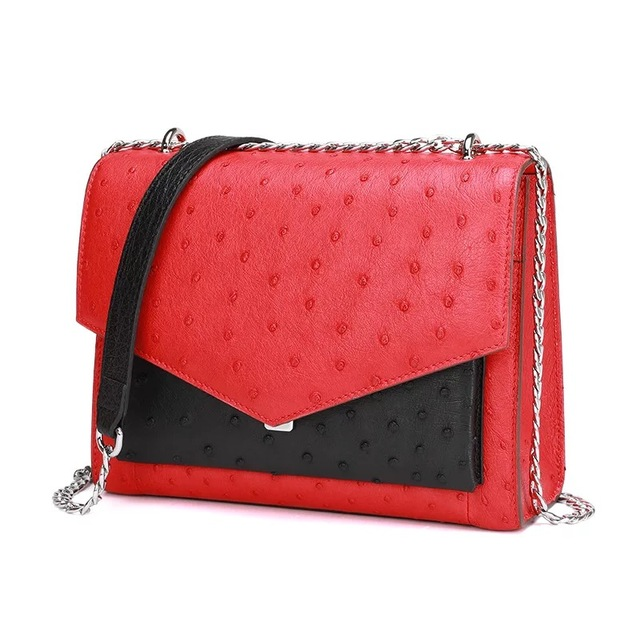 Luxury Designer Genuine Ostrich Skin Leather Small Flap Purse Lady Shoulder Bag