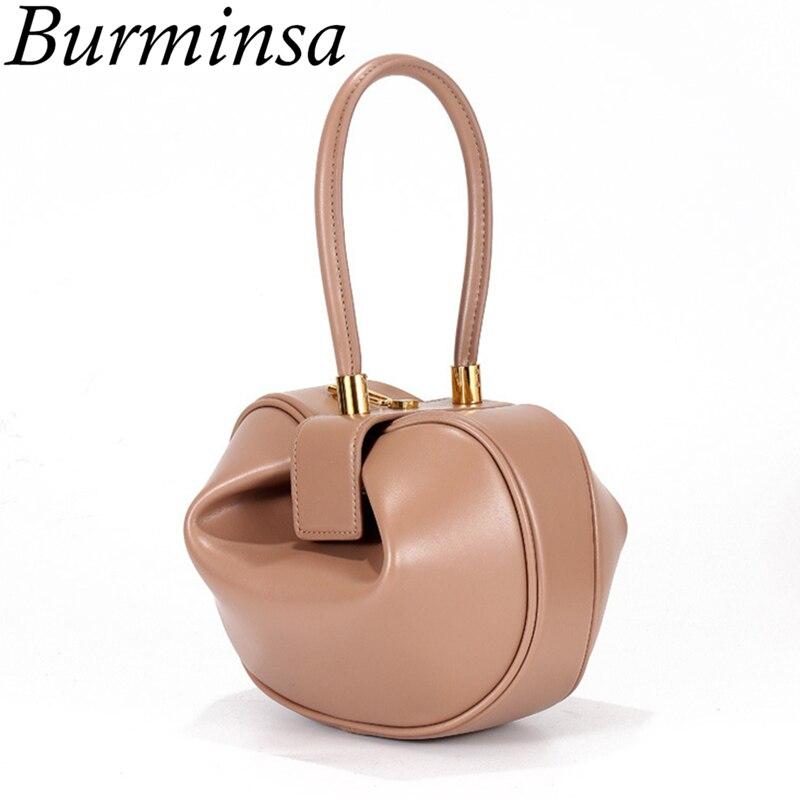 Burminsa Luxury Genuine Leather Handbags Women Small Tote Bags Top Handle Evening Bags High Quality Ladies
