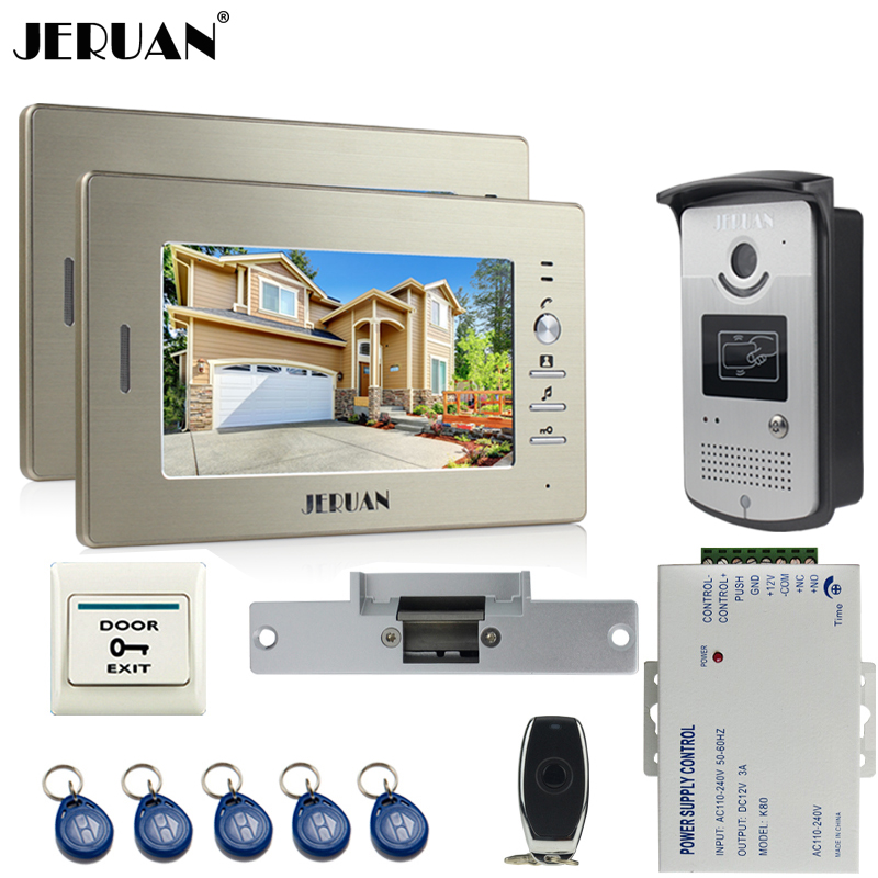JERUAN two 7`` monitors LCD Screen Video Intercom Video Door Phone Handsfree+ access control system+700TVL Camera+Cathode lock