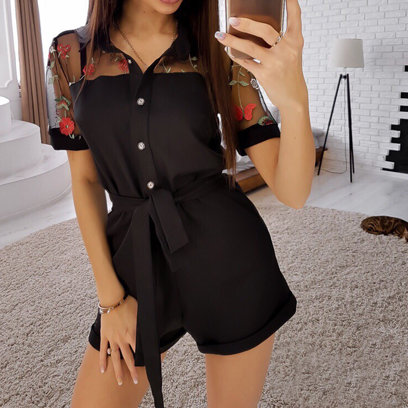 Women Casual Lace Patchwork Embroidery Jumpsuit Short Sleeve Turn Down Collar Sashes Playsuits 2019 Summer Fashion Women Shorts