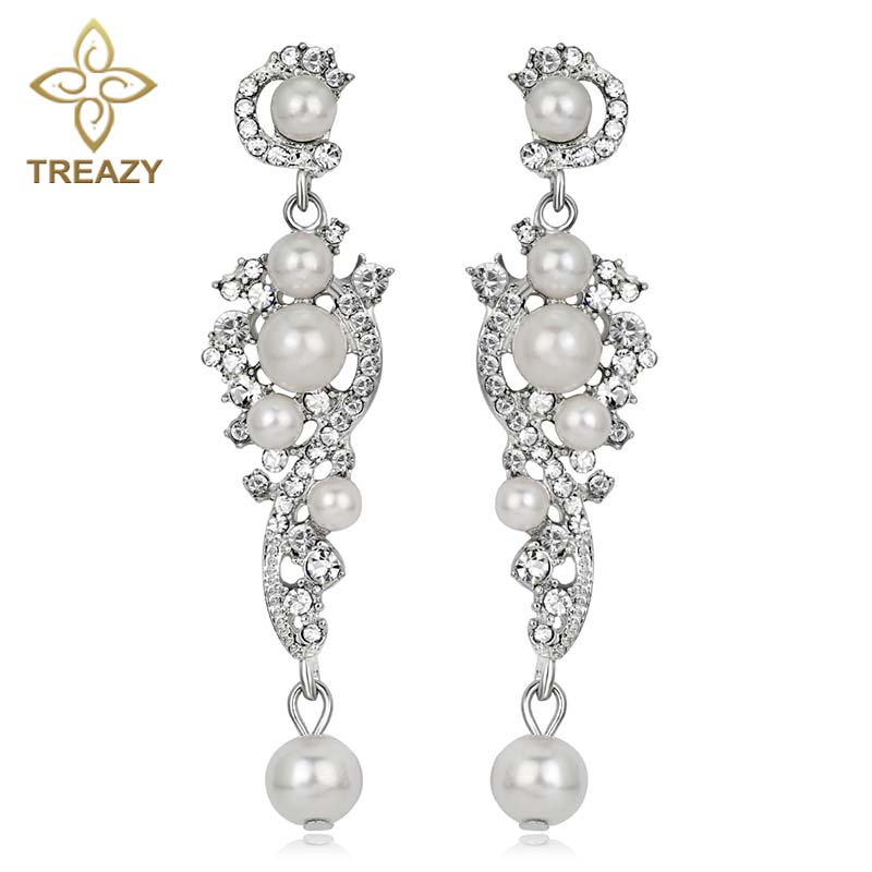 TREAZY font b Luxury b font Simulated Pearl Long Earrings Silver Color Crystal Floral Dangle Drop