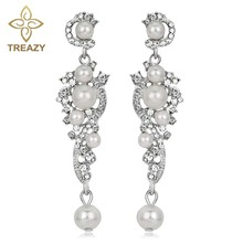 TREAZY Luxury Simulated Pearl Long Earrings Silver Color Crystal Floral Dangle Drop Earrings for Women Wedding Jewelry