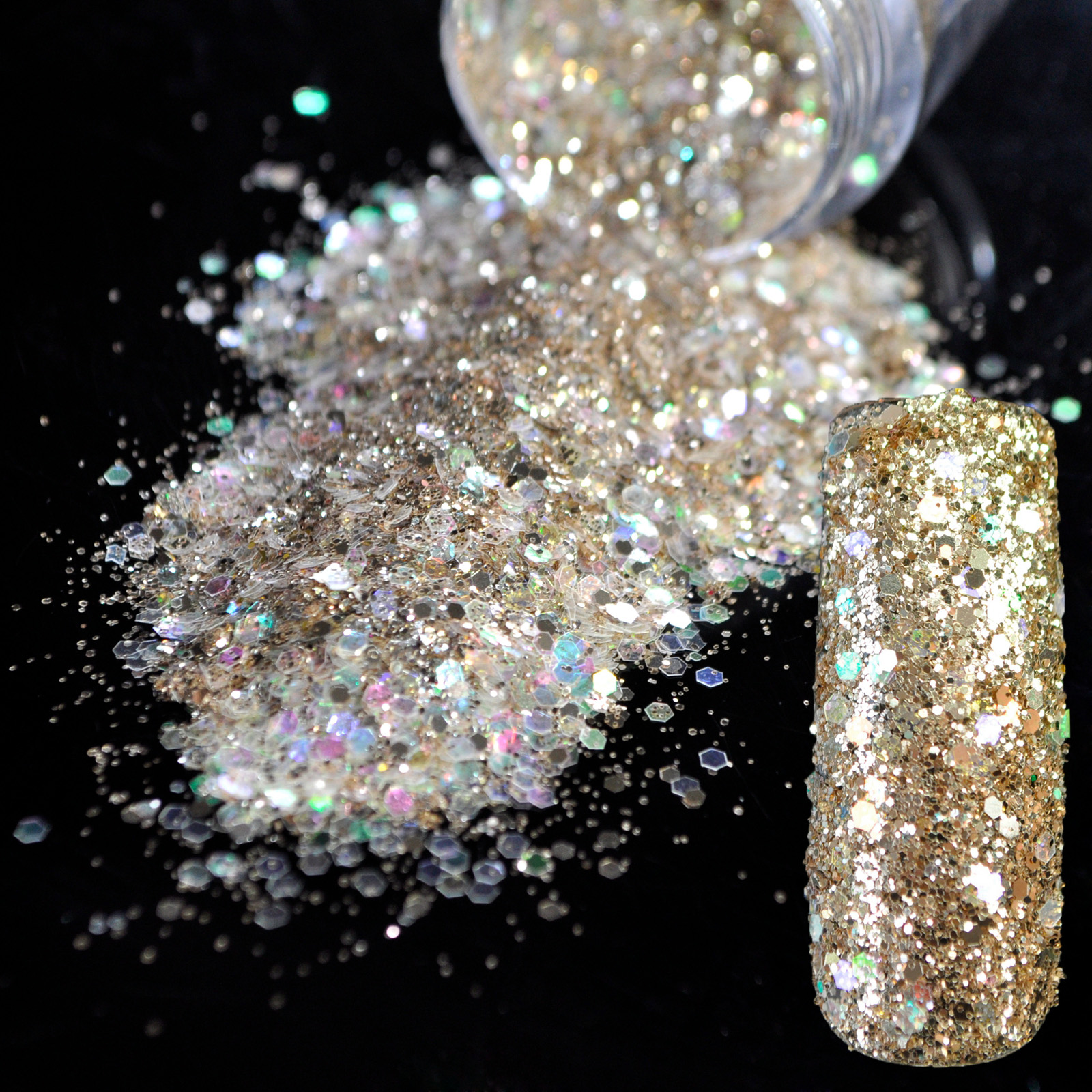 Holographic Clear Sequins DIY Nail Art Glitter Powder Champagne ...