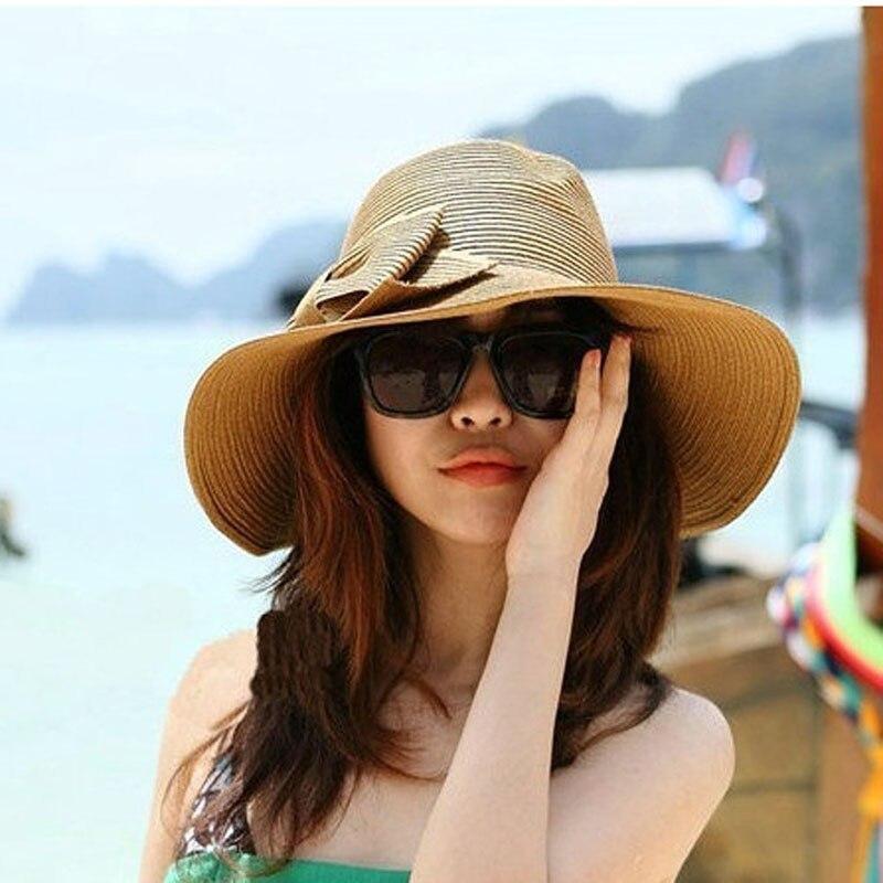 d1088473 Sombreros de mujer bohemios de moda de verano Sombrero con lazo Floppy  sombrero de paja de playa de ala grande gorra de hueso femenino en Las  mujeres ...