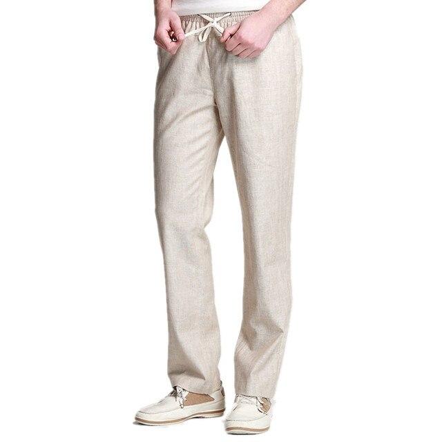 6309fd2a5d Linen Pants Men 2017 Summer Casual Lightweight Drawstring Loose Joggers  Brand Chinese Cotton Male Linen Trouser