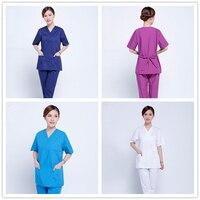 Women Slim Fit Hospital Uniforms Medical Scrub Sets Lab Coat Medical Gowns Doctors Nurses Clothes Uniform