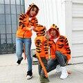 Осенняя мода тигр капюшоном толстовка женщины повседневная пары толстовки с тигр хвост почтовый до колледжа пары толстовки толстовка