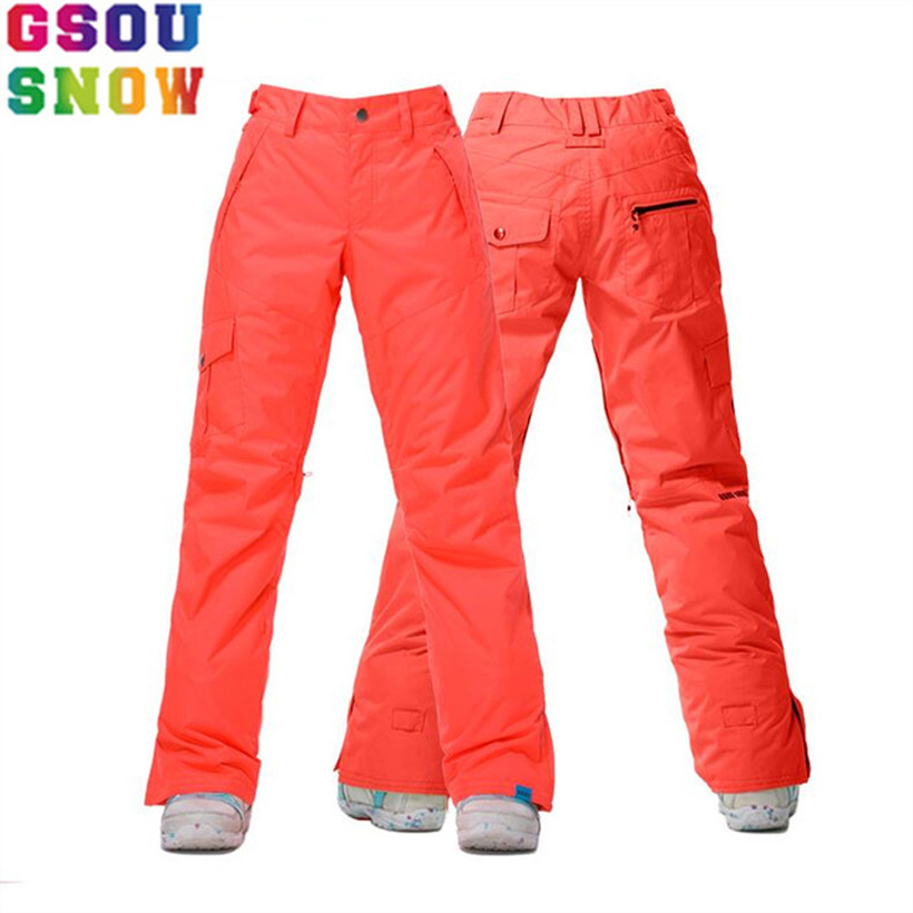 GSOU SNOW Brand Solid Winter Women's Ski Snow Pants Snowboard Pants Warmth stripe edging design u convex pouch warmth long pants
