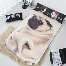 New Home Textile 3D Cute Pug Dog Cat Soft Bedspread Lightweight Kids Adult Bed Throw Sofa Warm Irregular Blanket Summer Quilts(China)