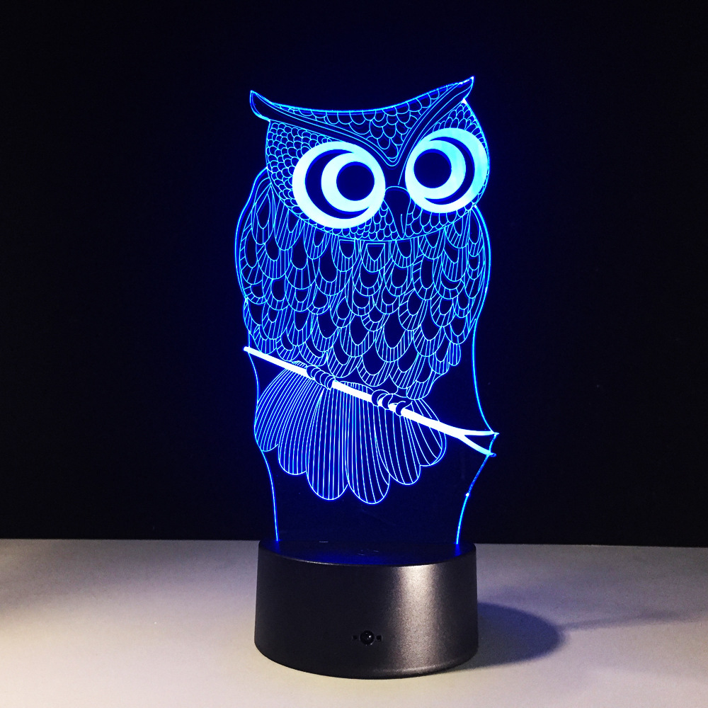 Owl novelty toy lamp 7 color changing visual illusion LED light Owl animal decro toy action figure birthday gift for kid
