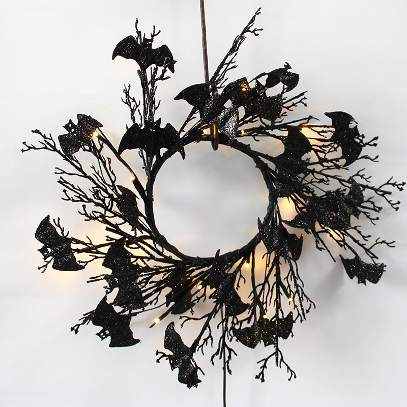 Glittery Black Bat Halloween Wreath Battery Operated 20