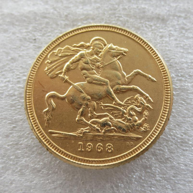UK coins 1968 REGINA FD ELIZABETH II DEI GRATIA 1 Sovereign 24-K Gold Plated Copy Coins