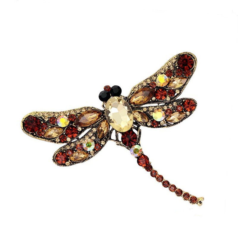 Utei Jewelry Retail Hot Selling Stunning Crystal Luxury Big Dragonfly Brooch Women Special Gift Insect Scarf Pin