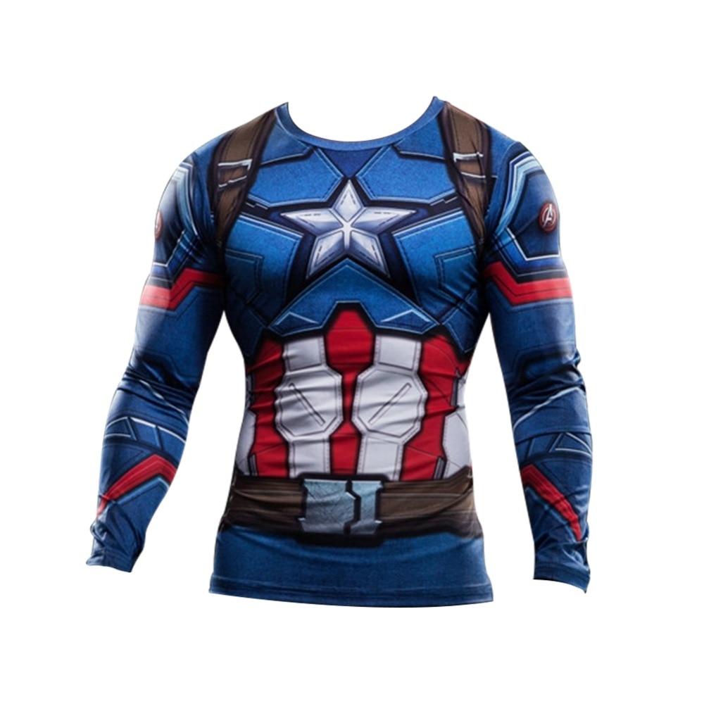d2a7499db3 2017 Homens T-shirt Tee Capitão América Guerra Civil 3D Impresso camisetas  Homens Vingadores Da Marvel homem de ferro 3 De Fitness Manga Longa roupas