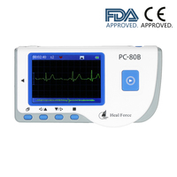 Medical Portable ECG EKG Monitor Machine Heart Rate Monitor with USB Cable Adhesive Electrode Lead Wires FDA CE Approved