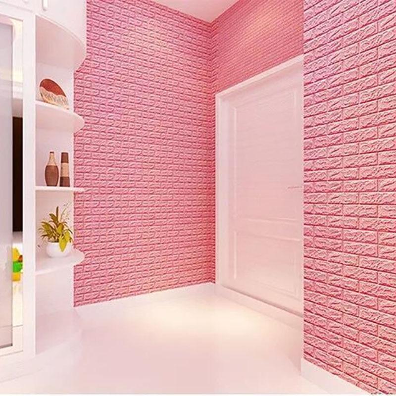 Купить с кэшбэком 3D Wall Stickers Brick Pattern Waterproof Self Adhesive Wallpaper Room Home Decor For Kids Bedroom Living Room Stickers