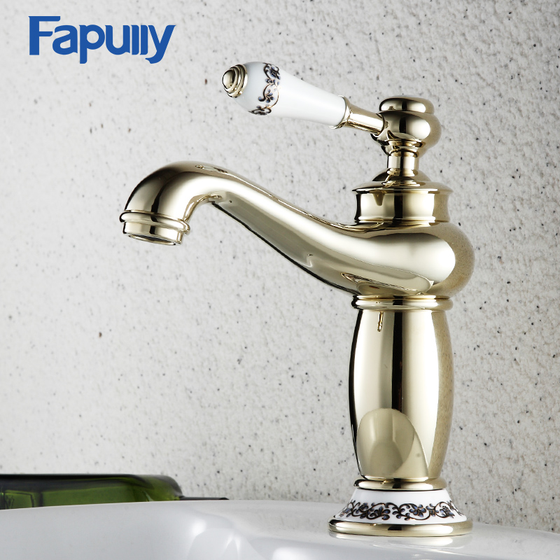 Fapully Gold Bathroom Sink Faucet Deck Mounted Single Handle Basin Faucet Gold Cold and Hot Mixer Taps fapully bathroom basin faucet single porcelain handle brass jade body deck mounted mixer tap hot and cold taps single hole sink