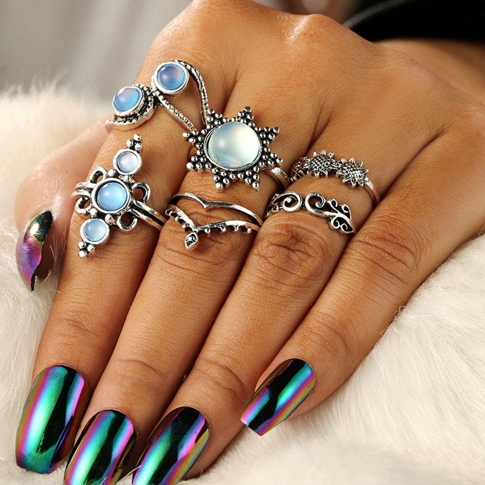 Beducht 6 Stks/set Vintage Zonnebloem Zon Articulatie Opaal Vinger Ringen Set Voor Vrouwen Leaf Hart Kroon Ringen Boho Verklaring Sieraden Femme