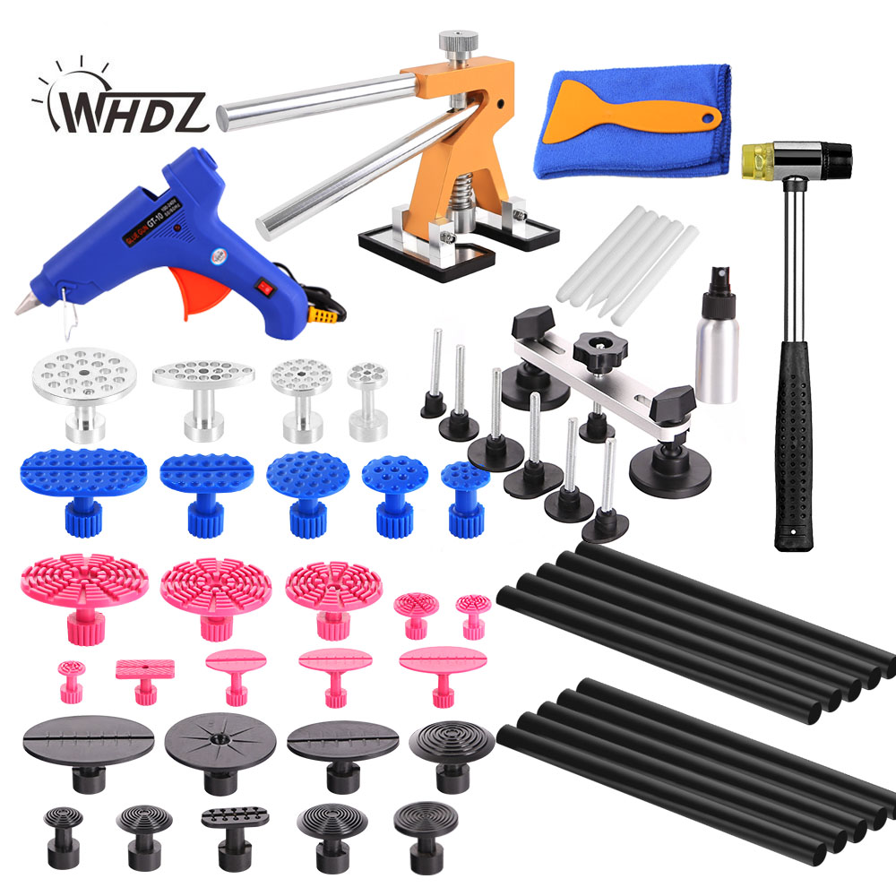 WHDZ PDR Tools Paintless Dent Repair Tools Car Hail Damage Repair Tool Hot Melt Glue Sticks Glue Gun Puller Tabs Kit  pdr tools for car kit dent lifter glue tabs suction cup hot melt glue sticks paintless dent repair tools hand tools set