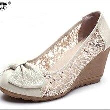 Nueva moda tacones altos mujeres bombas de cuero genuino encaje marfil  señoras acuñan los zapatos sandalia 50b9ec3ed9e1
