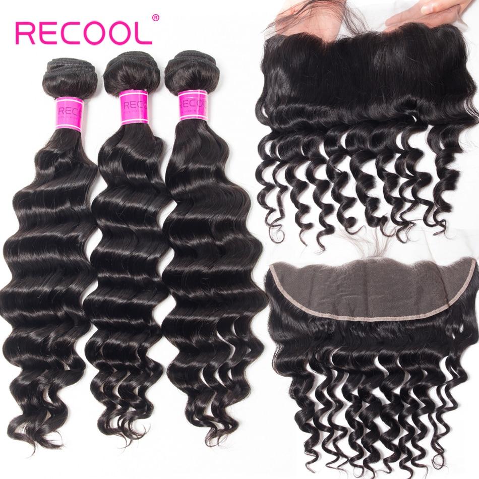 Recool Hair Loose Deep Lace Frontal Closure With Bundles Brazilian Hair Weave Bundles More Wave Human