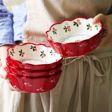 Ceramic Lace Bowl Japanese Porcelain Tableware Cute Fruit Salad Dessert Bowl Bakeware Plate Oven Microwave Tableware 5 6 8 inch japanese cherry blossom ceramic ramen bowl large instant noodle rice soup salad bowl container porcelain tableware