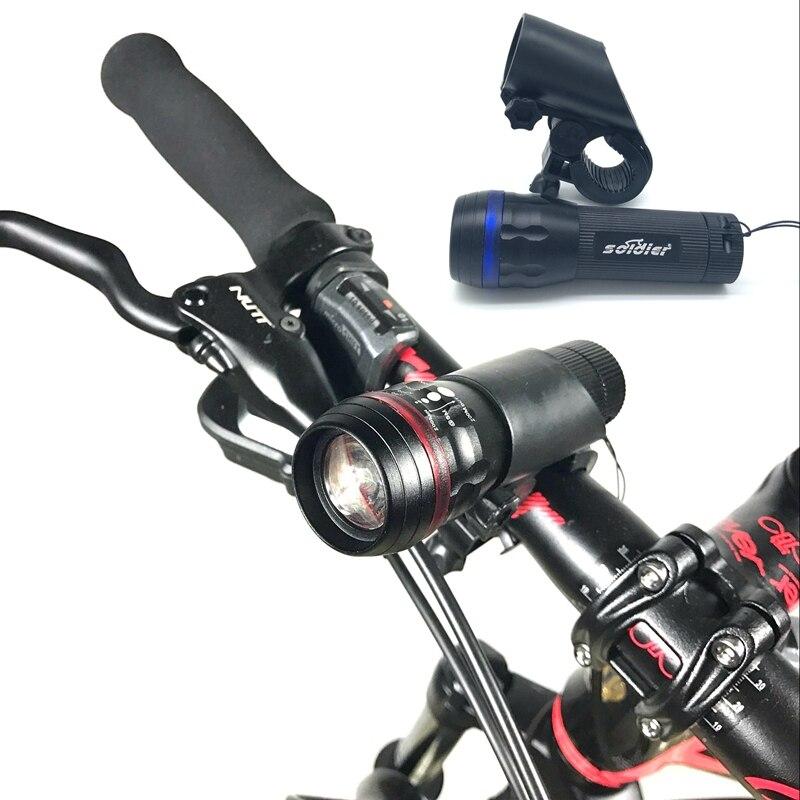 Новый Велосипедные фары 7 ватт 240 люмен 3 Режим Q5 светодиодные велосипед Передняя lampp факел Водонепроницаемый лампы + факел держатель
