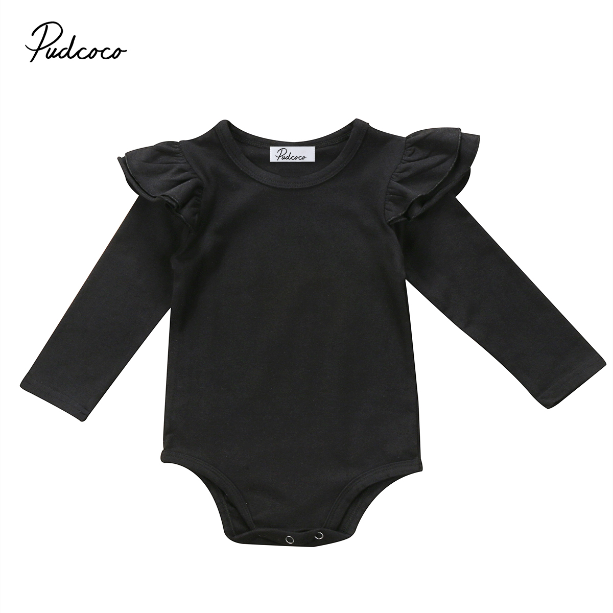 Cute Newborn Baby Girl Long Sleeve Ruffles Bodysuit Jumpsuit White Pure Black Outfit Clothes 0-18M