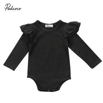 170644048 Mono con volantes de manga larga para bebé recién nacido mono blanco puro  negro ropa 0-18 M