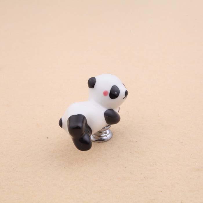 Купить с кэшбэком Lovely Cartoon Panda Shape Cabinet Door Knobs, Kids room furniture Drawer Dresser Ceramic Knob Pulls Handle