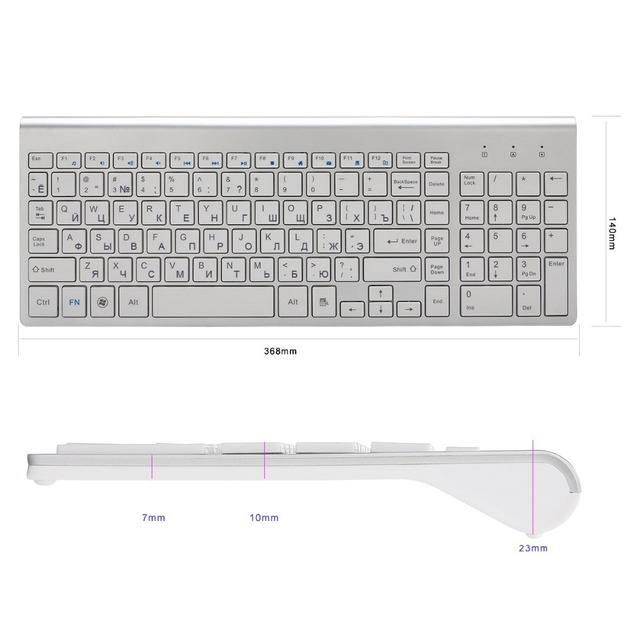 Ultra-Thin 101 Keys 2.4G Wireless Keyboard