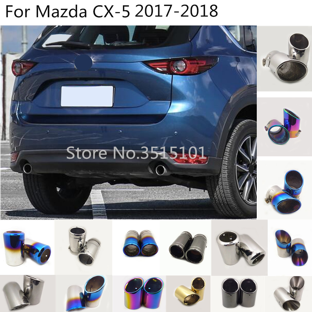 Car Rear Back Protect Cover Muffler Pipe Stainless Steel Outlet Dedicate Exhaust Tip Tail 2pcs For Mazda CX-5 CX5 2017 2018 2019