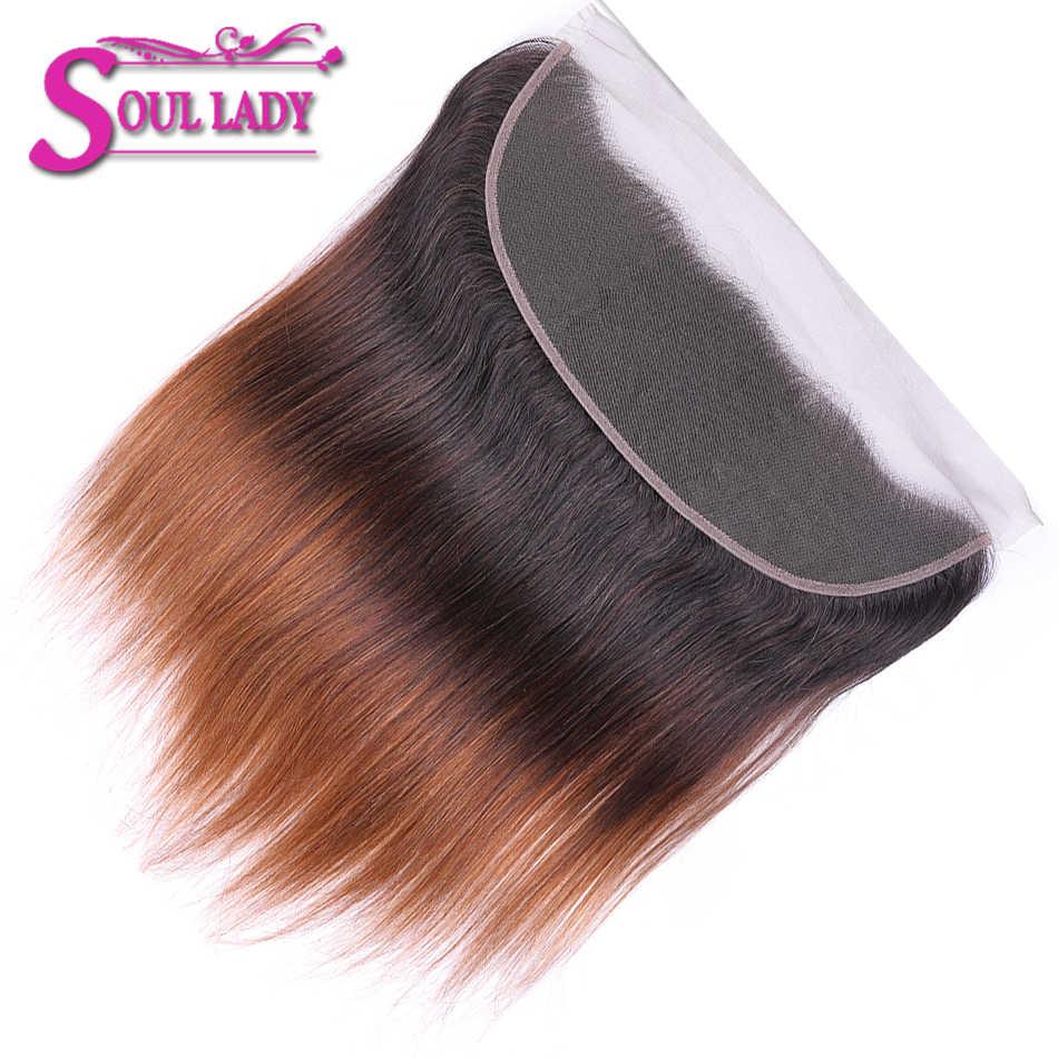 Soul леди 1b/4/30 3 оттенка, переходящие плавно от темного к светлому) с эффектом деграде (переход от парики из натуральных волос на кружевной закрытием эффектом деграде (переход от темного к бразильские прямые волосы фронтальной 13x4 уха до Кружева Фронтальные